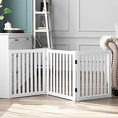 """WELLAND Wooden Freestanding Pet Gate, 24 Inch 3 Panel Step Over Fence, Expands Up to 60"""" Wide, Foldable Indoor Dog Gate Puppy Safety Fence, White"""
