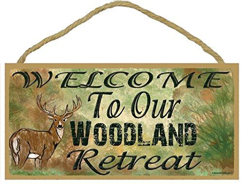Ciervo Bienvenido a nuestra Woodland Retreat Camping Caza Señal 5