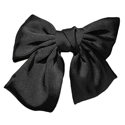 niumanery Japanese Lolita Women Big Satin Bowknot French Barrette Hair Clip Ponytail Clamp Black