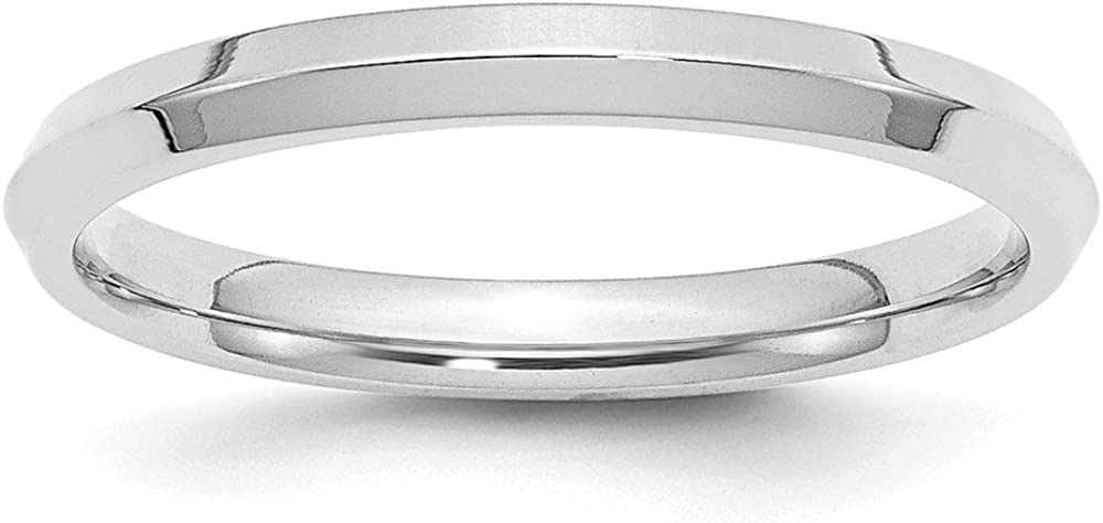 Solid 14k White Gold 2.5mm Knife Edge Comfort Fit Wedding Band