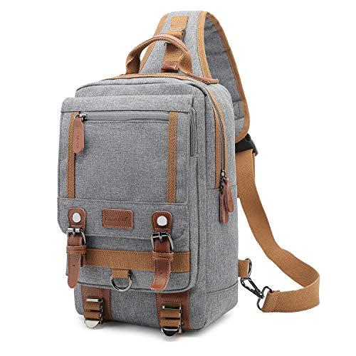 FOSTAK Bolsos cruzados/Bolso masculino de hombro y pecho/Sling Bag/Satchel con eslingas, para deportivo, outdoors, ciclismo (Nylon Gris)