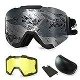 WLZP Gafas de esquí,Gafas de esquí magnéticas Intercambiables con 2 Lentes de Modelado, Protección Anti-vaho UV400 Gafas de Snowboard para Hombre Mujer Adultos Juventud Jóvenes