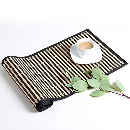 LOVECASA Bambus Tischläufer, Tischläufer abwischbar 135 cm Lang 30 cm Breite Tischdecke, Tischband