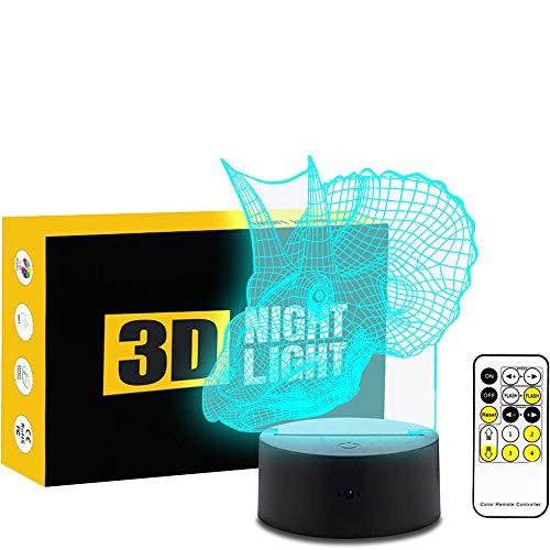 Les Lazy 3D Illusion d'optique Table Lampe de Bureau 7 Couleurs changent Bouton Tactile et 15 Touches télécommande Dinosaure LED Lumière de Nuit pour Chambre à Coucher Décoration