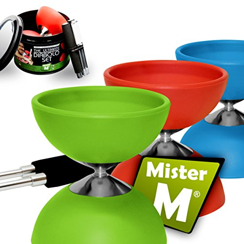 """Diabolo ✓ """"The Ultimate Set Sticks with String ✓ Extra String ✓ Online Video - Designed and Tested by """"Mister M"""" (Green)"""