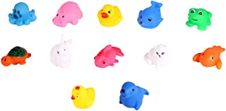 Play Bath Toy, 12Pcs Float and Play Bubbles Bath Toy Children Kids Baby Bathing Play Toys Squeaky Squeeze Sound Animals Shape Floating Water