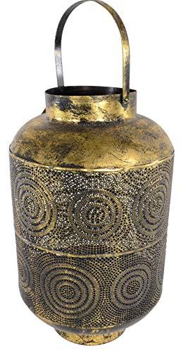 Windlicht Orient Laterne Bodenlaterne Metall 29,5 x 45 cm Gold
