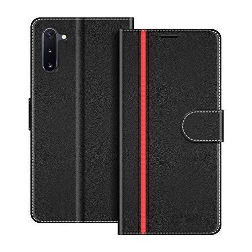 COODIO Handyhülle für Samsung Galaxy Note 10 Handy Hülle, Samsung Galaxy Note 10 Hülle Leder Handytasche für Samsung Galaxy Note 10 Klapphülle Tasche, Schwarz/Rot