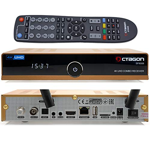 OCTAGON SF8008 4K UHD HDR HYBRID GOLD LIMITED EDITION cavo satellitare terrestre 1xDVB-S2X + 1x DVB-C / T2 - E2 Linux TV box, ricevitore PVR tramite USB - incluso cavo HDMI EasyMouse e doppia WLAN
