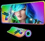 Alfombrilla de ratón para Juegos de Chica con Pelo de Color RGB LED Gaming Gamer para Teclado Grande Accesorios de computadora Alfombrilla de Escritorio, 800x300x4 mm