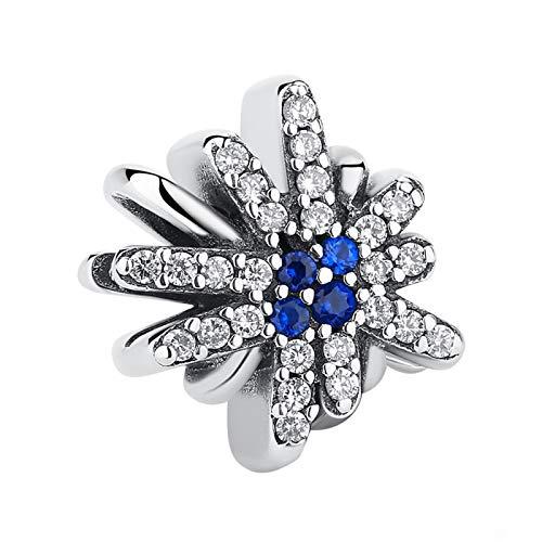 LILIANG Charm Jewelry 100% Plata De Ley 925 Sparkling Snowflake Charm Bead Fit Original Pulsera Brazalete Auténtico DIY Joyería