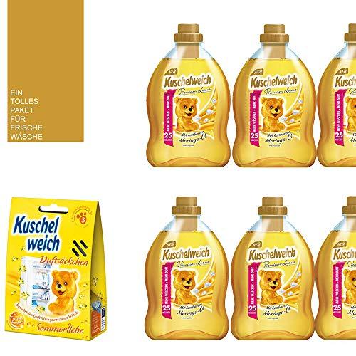 Studio.Munet - Suavizante (10 piezas, 6 x 750 ml, aceite de moringa 150 WL, 1 bolsita perfumada y 3 unidades), color amarillo