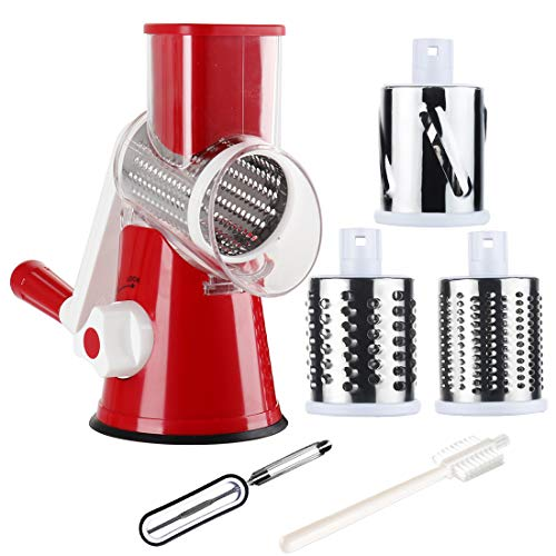 Tevokon Manual Rotary Cheese Grater Round Mandoline Multi Blade Slicer with Non-slip Base, Vegetable Slicer Nuts Grinder Cheese Shredder with Cleaning Brush Vegetarian Peeler Red
