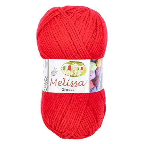 Melissa Hilo 100% Acrilico Ovillo de Lana (115m 100g * 1=50g * 2) Premium para DIY Tejer y Ganchillo, Certificado OEKO-TEX Standard 100,Agujas Talla 5(1/2)-6(1/2),Rojo 29,Enviado desde Europa