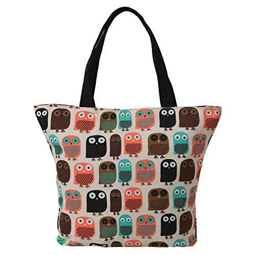 LATH.PIN Eule Shopper Beuteltasche Eule größe Umhängetasche Wasserfest Tasche Damen Schultertasche (Shopper, Eule)