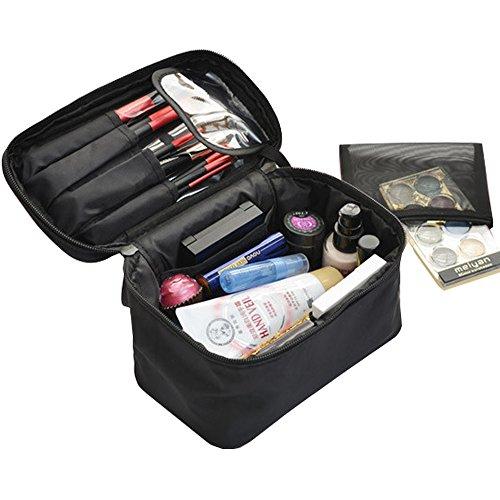 Bolso Cosmético de Viaje Neceseres Maquillaje Bolsa de Aseo Neceser Organizador de Baño con Asa de Transporte Neceser de Maquillaje para viajes y hogar (Negro)