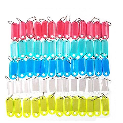 JZK 60 Piezas Armario Llavero llaveros plástico con Llavero Equipaje Etiqueta armarios Nombre Mochila Etiquetas de identificar (Color al Azar)