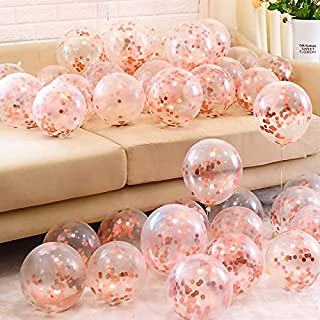 EMONO Confetti Balloon Rose Gold Pack of 10 Set For birthday decoration items | Anniversary | Bridal | Bachelorette party...