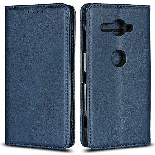 Copmob Sony Xperia XZ2 Compact hülle,Premium Flip Leder Geldbörse mit weichem TPU-Shock Absorption,[3 Kartensteckplatz][Ständerfunktion][Magnetschnalle] - Blau