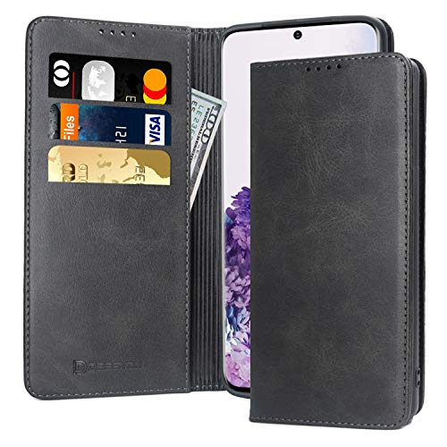 D DESSVON Samsung Galaxy S20 Case Wallet Black, Galaxy S20 Case with Card Holder Kickstand, Strong Magnet No Buckle Business Style Flip Leather Protective Phone Case Cover for Samsung Glaxy S20