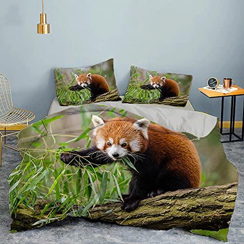 Copripiumino Singolo Panda Rosso 3D 155x200 cm + 1 Federe 50x80 cm, Copri Piumino con Cerniera, Set di Biancheria da Letto in Microfibra