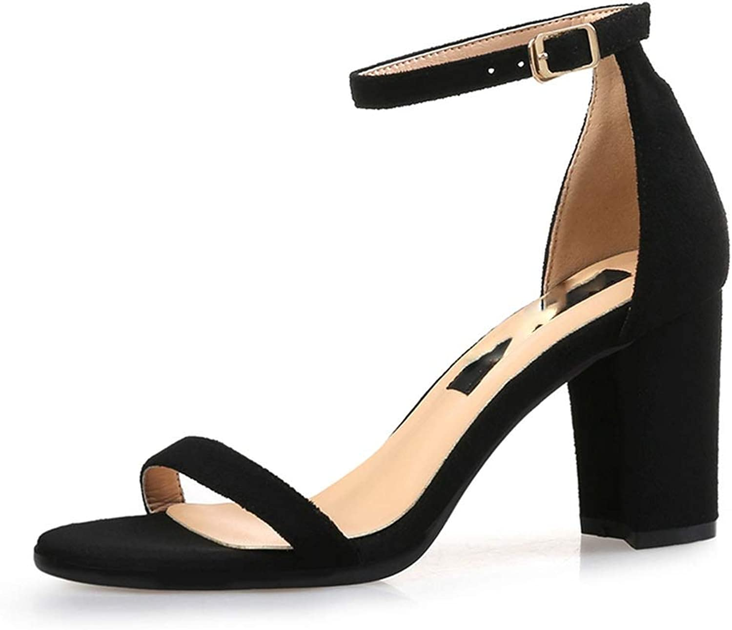 Fashion Classic 8cm High Heels Sandals Female Block Purple Pink Heels Pumps Lady Strappy shoes