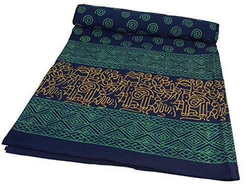 Guru-Shop Blockdruck Tagesdecke, Bett & Sofaüberwurf, Handgearbeiteter Wandbehang, Wandtuch Blau, Mehrfarbig - Design 6, Baumwolle, Größe: Double 225x275 cm, Tagesdecken mit Blockdruck