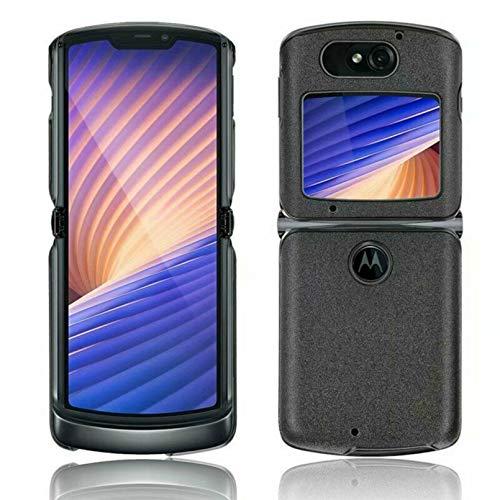 Xindemei Luxus Hybrid Leder Hard PC 2 in 1 Handyhülle Abdeckung, Elegante stoßfeste Schutz Stoßstange Hülle für Motorola Razr 5G (Schwarz)