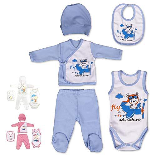 QAR7.3 Ropa Bebé Recién Nacido, 5 Piezas Conjunto, 100% Algodón