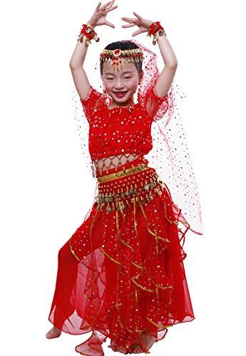 Astage Ragazza Manica Corta Danza del Ventre Carnevale Costume alle Ornamenti L Rosso