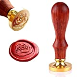 Wax Seal Stamp, Retro Wood Stamp Classic Initial Wax Seal Stamp with Handle, Great for Embellishment of Envelopes, Invitations, Wine Packages, Greeting Cards, etc (Rose)