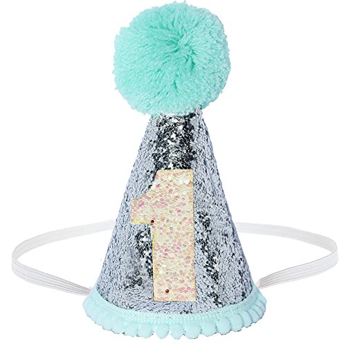 Perktail Glitter Dog First Birthday Cone Hat Mini Doggy Cat Kitty Birthday Party Hats (Mint Silver)