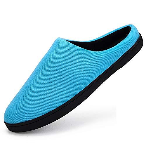 JXILY Pantuflas Cómodas Suave Slippers Zapatillas De Algodón para El Hogar De Invierno Cálido Pareja Espesar Zapatillas Zapatillas De Antideslizante Cálido Zapatos,Azul,46