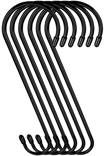 9 inch Large Vinyl Coated S Hooks with Rubber Stopper Non Slip Heavy Duty S Hook, Steel Metal Black Rubber Coated Closet S Hooks for Hanging Jeans Plants Jewelry Pot Pan Cups Towels Hats, 6 Pack