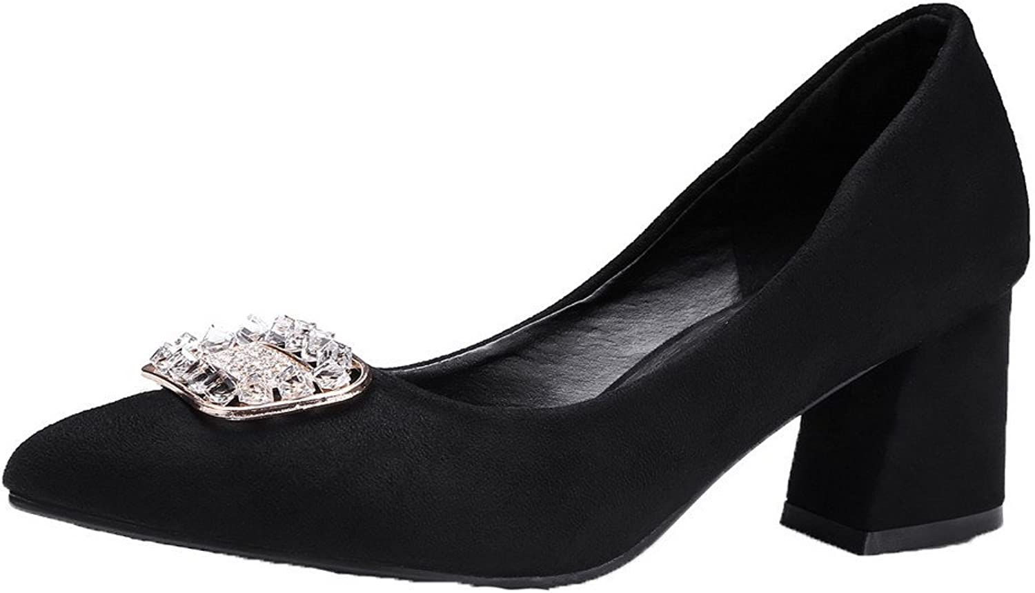 WeenFashion Women's Pointed-Toe Pull-On Kitten-Heels Frosted Solid Pumps-shoes