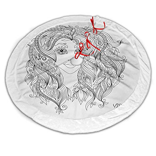 ScottDecor Zodiac Virgo Christmas Tree Skirt White Young Lady Portrait with Flowers Hand Drawn Line Art Woman of Virgo Sign for Xmas Tree Decorations Black and White 30 Inch