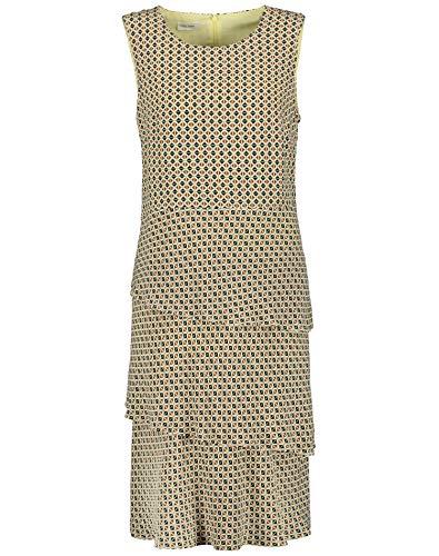 Gerry Weber Damen Gemustertes Kleid Mit Stufen Figurumspielend, Tailliert Ecru Gelb Sand Schwarz Druck 48