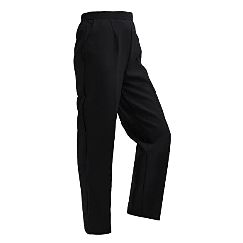 NEW LADIES WOMENS HALF ELASTICATED WAIST TROUSERS BLACK POCKETS SMART PLUS SIZE