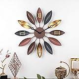 Kuingbhn Hojas de Hierro Forjado Moderno Silencioso Reloj de Pared Non Ticking Silent Quartz Decorative Wall Clock Aguja Negra de 58cm