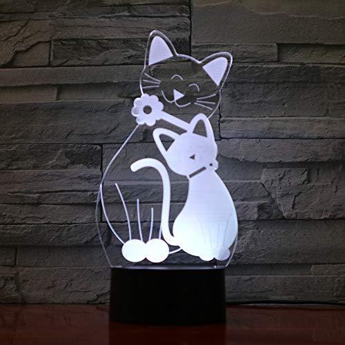 Lumières De Nuit Mignon Flash Cat Lampe 7 Couleurs Changeantes Ambiance Lumière 3D Kitty Mood Lampe Décor À La Maison Enfants Cadeaux