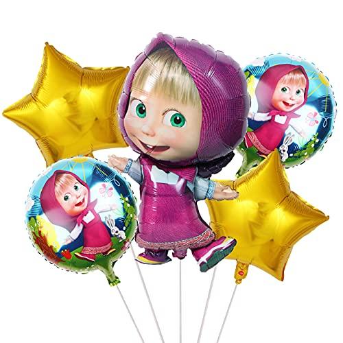 The Bear Partyzubehör- Miotlsy 5 Stück Aluminiumfolien-Ballons, Kinderparty Ballone Kinder Party Bär Ballon Deko, Cupcake-Topper, Aluminiumfolien-Ballons, Kindergeburtstag