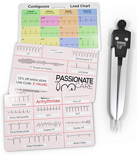 EKG Calipers Plus ECG Rhythm Interpretation Badge Cards. The Perfect Divider Combination. It Is The Ultimate 12 Lead Cheat Sheet For Nurses and Medical Students Alike. Caliper and Flash Cards. Ideal