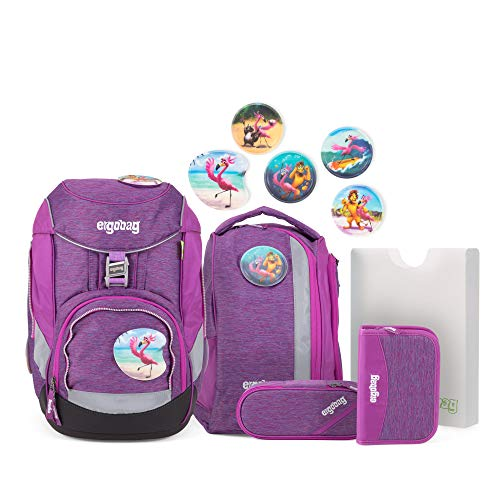ergobag pack Set - ergonomischer Schulrucksack, Set 6-teilig, 20 Liter, 1.100 g - Insel HoppBär - Lila