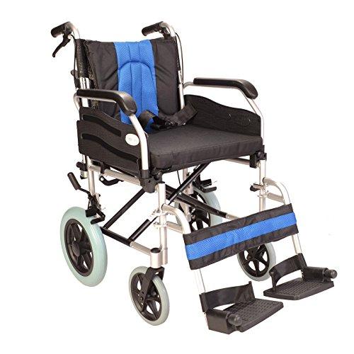 Faltbarer Transit-Rollstuhl aus Aluminium mit schmaler Sitzfläche und Bremsen ECTR02-16