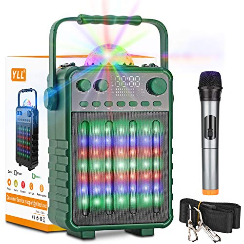 Karaoke Machine with Wireless Microphone, YLL Bluetooth Karaoke Speaker PA Sound System with Disco Lights for Home Party, FM, Recording, TF/USB Supported, Green