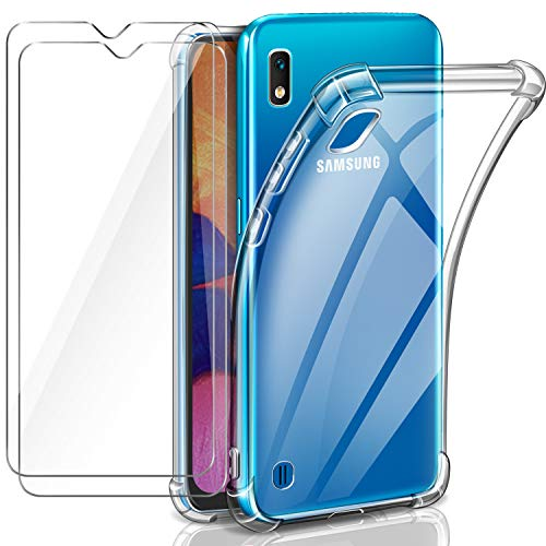 Leathlux Funda Samsung Galaxy A10 + [2 Pack] Cristal Templado Protector de Pantalla, Ultra Fina Silicona Transparente TPU Carcasa Protector Airbag Anti-Choque Anti-arañazos Case Cover para Samsung A10
