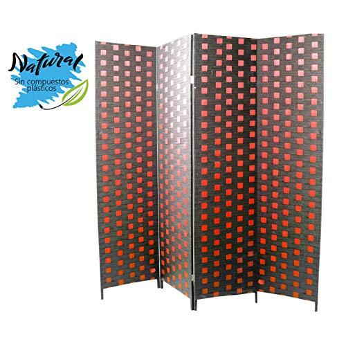 Hogar y Mas Biombo Separadaor 4 Paneles, Bambú Natural y Papel Trenzado Rojo y Negro. con Patas de Acero 180x180 cm