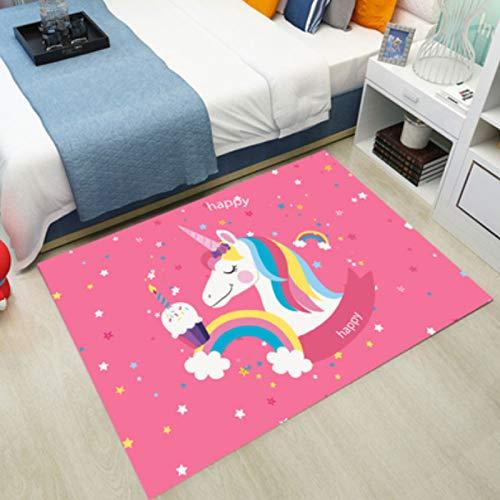 ZRY Alfombra De Dibujos Animados Rainbow Pony Anime Alfombra Rosa Rectángulo Sala De Estar Dormitorio Mesita De Noche Comedor Estilo Nórdico Alfombra De Terraza Familiar