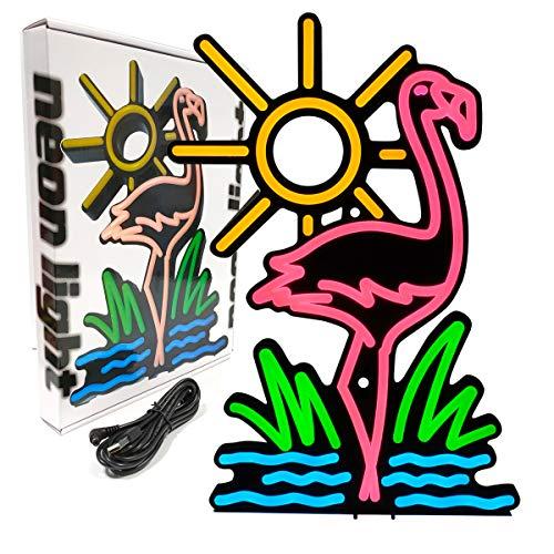 Luces de neón, Sanyan Rosa Flamingos y Sol Amarillo, LED Deco, fuente de alimentación USB, Carteles de mesa Art-Deco, luces nocturnas para cafeterías, casas, dormitorios, bodas, fiestas de cumpleaños