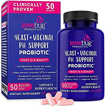 LoveBug Probiotics Complete Women s Health 50 Billion CFU Vaginal Care and pH Balance Probiotic Proven Ingredients with Pacran Promotes Urinary Tract Health Advanced Strength 30 Capsules